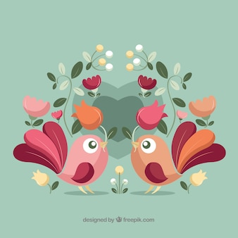 Fundo lindo dia dos namorados com pássaros