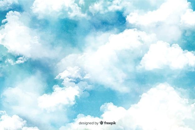 Fundo lindo nuvens em aquarela
