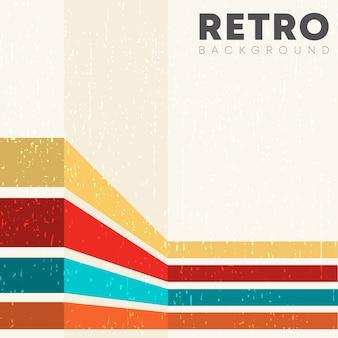 Fundo linear com textura retrô grunge e listras coloridas vintage.