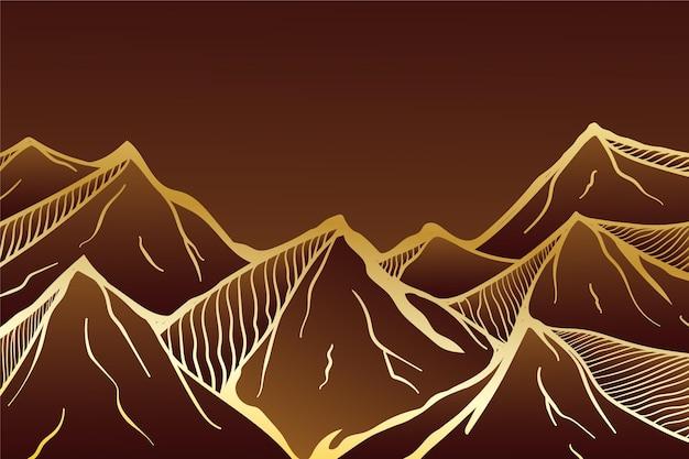 Fundo linear gradiente dourado com montanhas