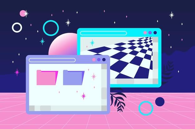 Fundo linear vintage vaporwave