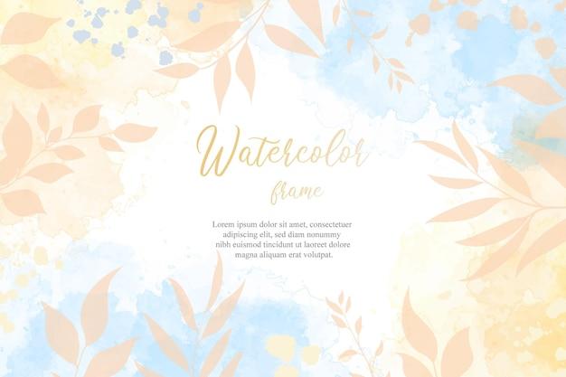 Fundo líquido aquarela editável plano floral e pintado à mão