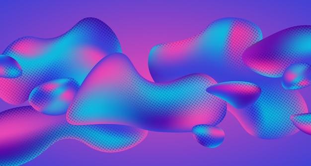 Fundo líquido geométrico da forma do gradiente de meio-tom fluido colorido abstrato.