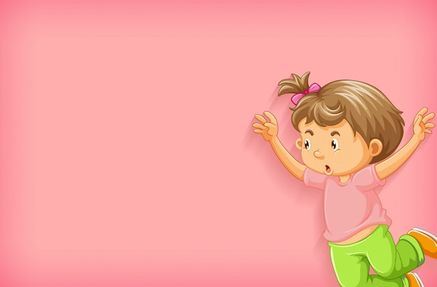 Fundo liso com a menina pulando