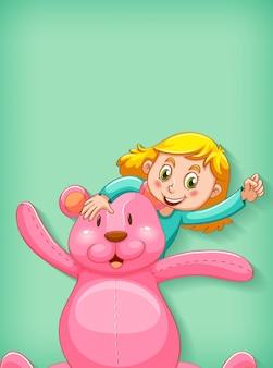 Fundo liso com menina e ursinho grande