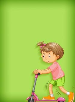 Fundo liso com menina jogando scooter