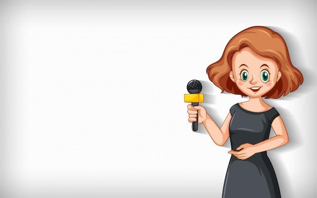 Fundo liso com repórter falando no microfone