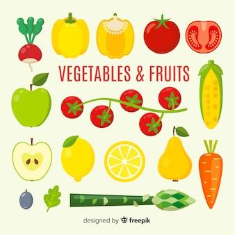 Fundo liso de legumes e frutas
