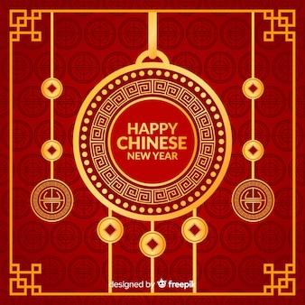 Fundo liso do ano novo de ornamento chinês de suspensão