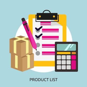 Fundo lista de produtos