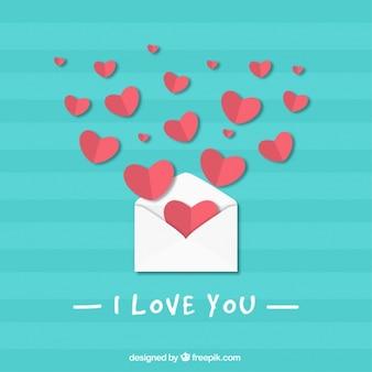 Fundo listrado azul com envelope e corações para o dia dos namorados
