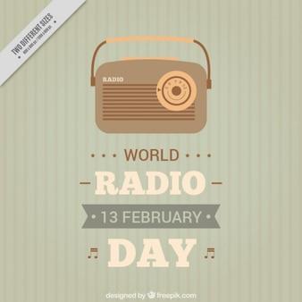 Fundo listrado com rádio do vintage