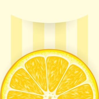 Fundo listrado com uma fatia de laranja