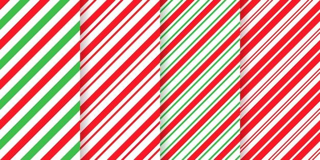 Fundo listrado de natal. listras diagonais de férias de natal. conjunto de impressões de pacote de caramelo fofo.