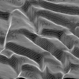 Fundo listrado em tons de cinza de vetor. ondas de linha abstrata. oscilação das ondas sonoras.