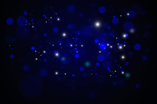 Fundo luminoso azul e dourado festivo com bokeh luzes coloridas.