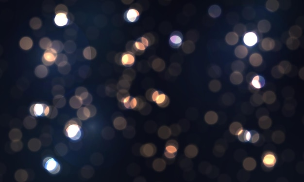 Fundo luminoso azul festivo com luzes coloridas bokeh brilhos voando partículas de poeira brilhante