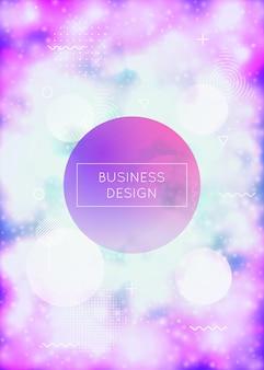 Fundo luminoso com formas de néon líquido. fluido roxo. capa fluorescente com gradiente bauhaus. modelo gráfico para livro, anual, interface móvel, aplicativo da web. fundo luminoso sunburst.