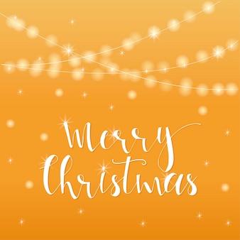 Fundo luminoso dourado festivo maravilhoso e exclusivo com desejos de natal para cartões de férias. mão-extraídas letras com bokeh turva. elementos de design de ano novo.