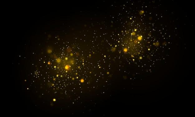 Fundo luminoso festivo dourado com bokeh de luzes coloridas
