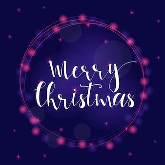 Fundo luminoso roxo festivo maravilhoso e exclusivo com desejos de natal para cartões de férias. mão-extraídas letras com bokeh turva. elementos de design de ano novo.