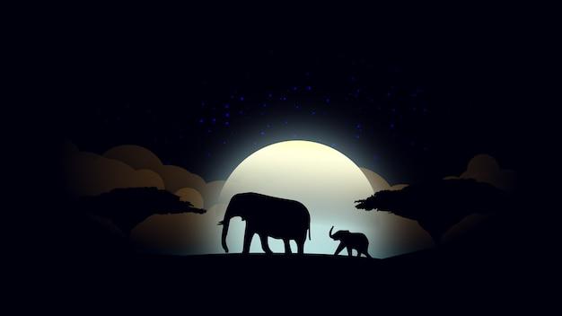 Fundo lunar da noite africana com mãe e bebê elefante