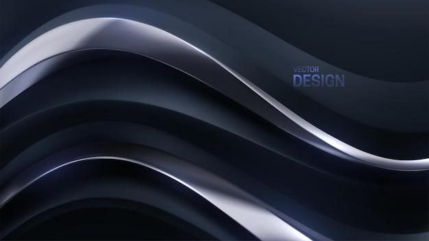 Fundo luxuoso abstrato com forma ondulada preta e prateada