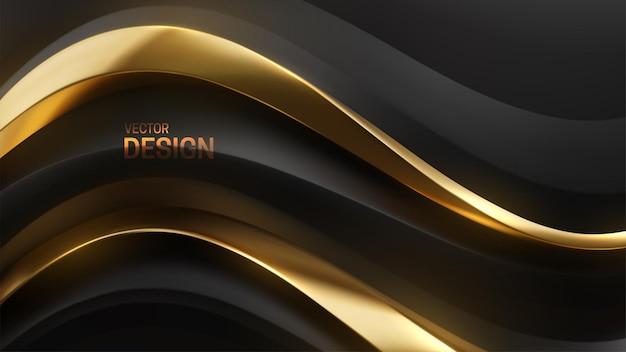 Fundo luxuoso abstrato com formas onduladas pretas e douradas