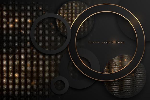 Fundo luxuoso abstrato preto e dourado.