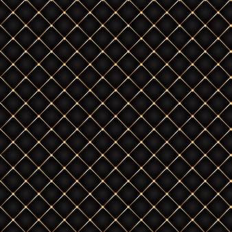 Fundo luxuoso com design acolchoado preto e dourado