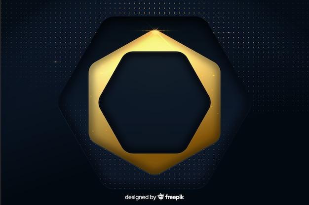 Fundo luxuoso com formas douradas e azuis
