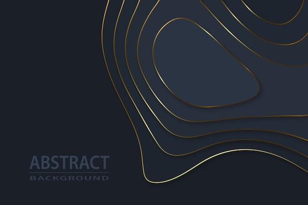 Fundo luxuoso de papel preto com corte geométrico e elementos dourados