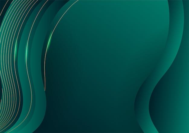 Fundo luxuoso verde abstrato com linha dourada no escuro. estilo de corte de papel realista 3d. ilustração vetorial para banner, cartaz, folheto, plano de fundo de apresentação e muito mais