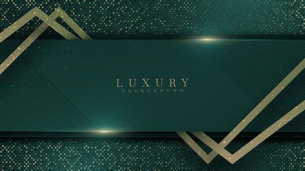 Fundo luxuoso verde abstrato com linha dourada no escuro