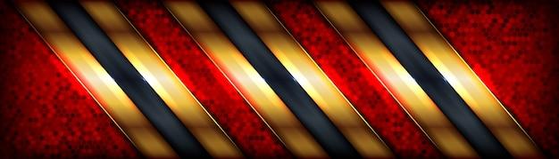 Fundo luxuoso vermelho abstrato com borda dourada elegante no fundo escuro