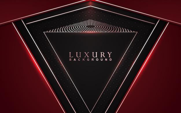 Fundo luxuoso vermelho e preto sobreposto com decoração de brilhos dourados