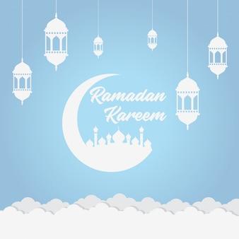 Fundo macio azul do ramadã