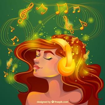 Fundo mágico da mulher ouvindo música com luz dourada