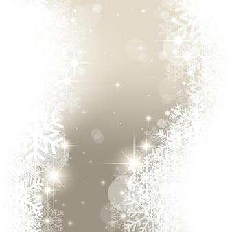 Fundo mágico de natal com flocos de neve
