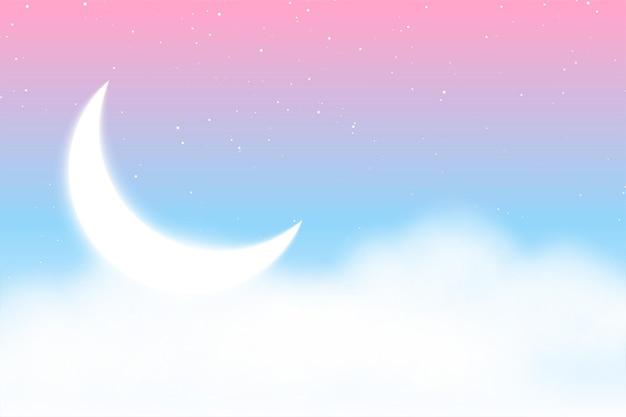Fundo mágico de sonho com nuvens, lua e estrelas