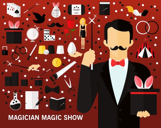 Fundo mágico do conceito da mostra do mágico. ícones planas.