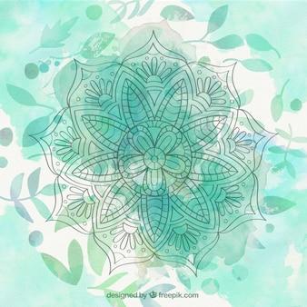 Fundo mandala aguarela verde com folhas