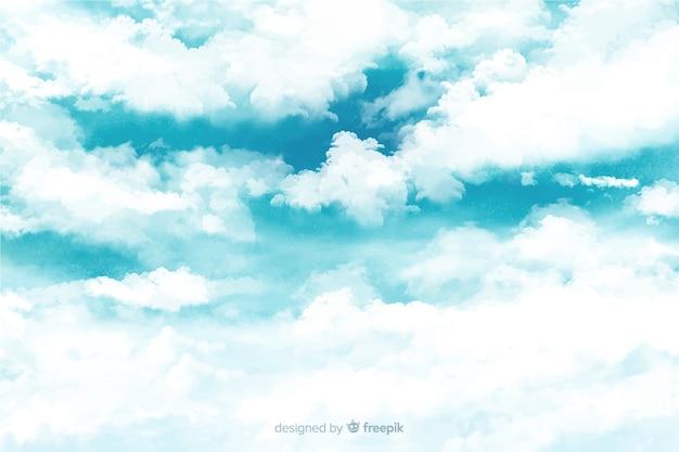 Fundo maravilhoso nuvens em aquarela