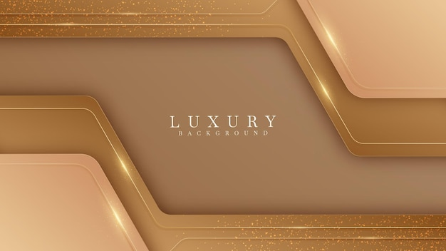 Fundo marrom com linhas douradas. conceito realista 3d de luxo.