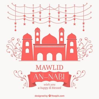 Fundo mawlid bonito com mesquita