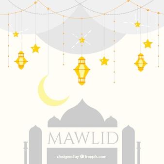 Fundo mawlid com mesquita e douradas lanternas