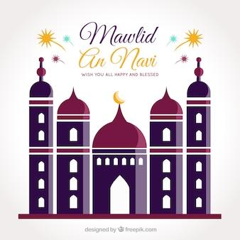 Fundo mawlid com mesquita no design plano