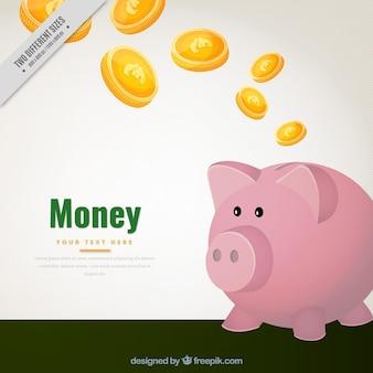 Fundo mealheiro e moedas