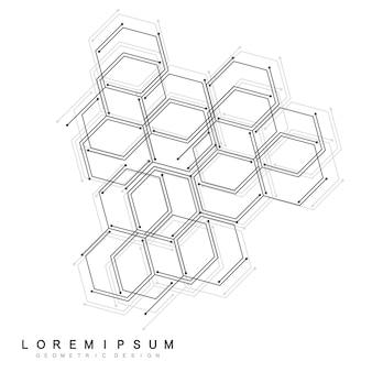 Fundo médico abstrato. carcaça hexagonal, conexão genética.