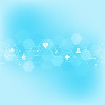 Fundo médico abstrato com ícones e símbolos lisos. modelo de design com conceito e ideia para tecnologia de saúde, medicina de inovação, saúde, ciência e pesquisa.
